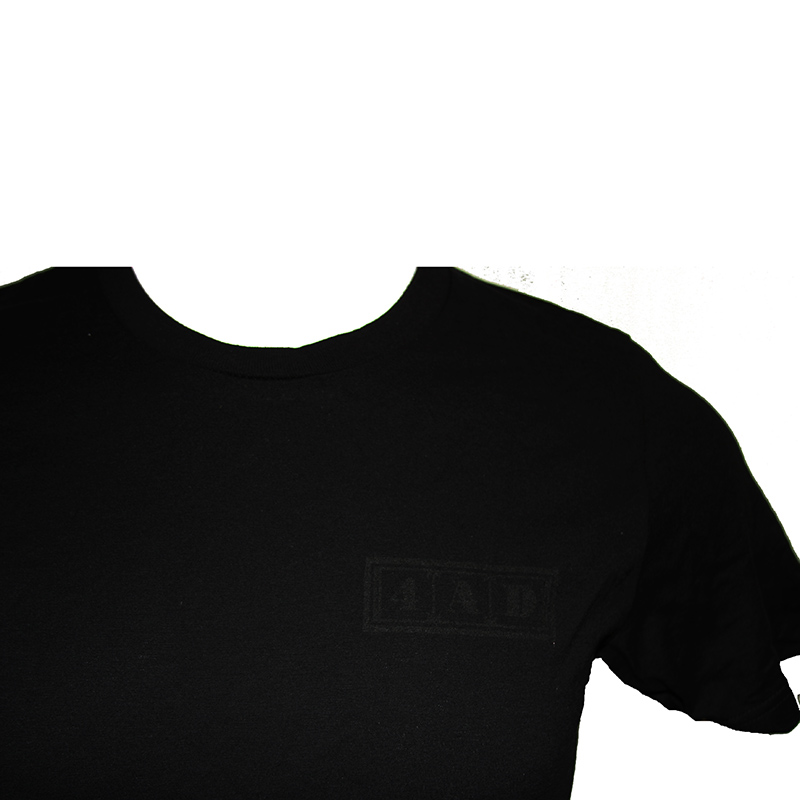 4AD Merch - Tee - Black on Black, Left Logo